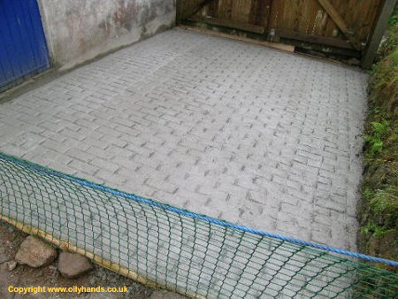 Concrete laid with brick effect