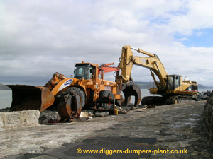 Samsung wheel loader and Caterpillar excavator